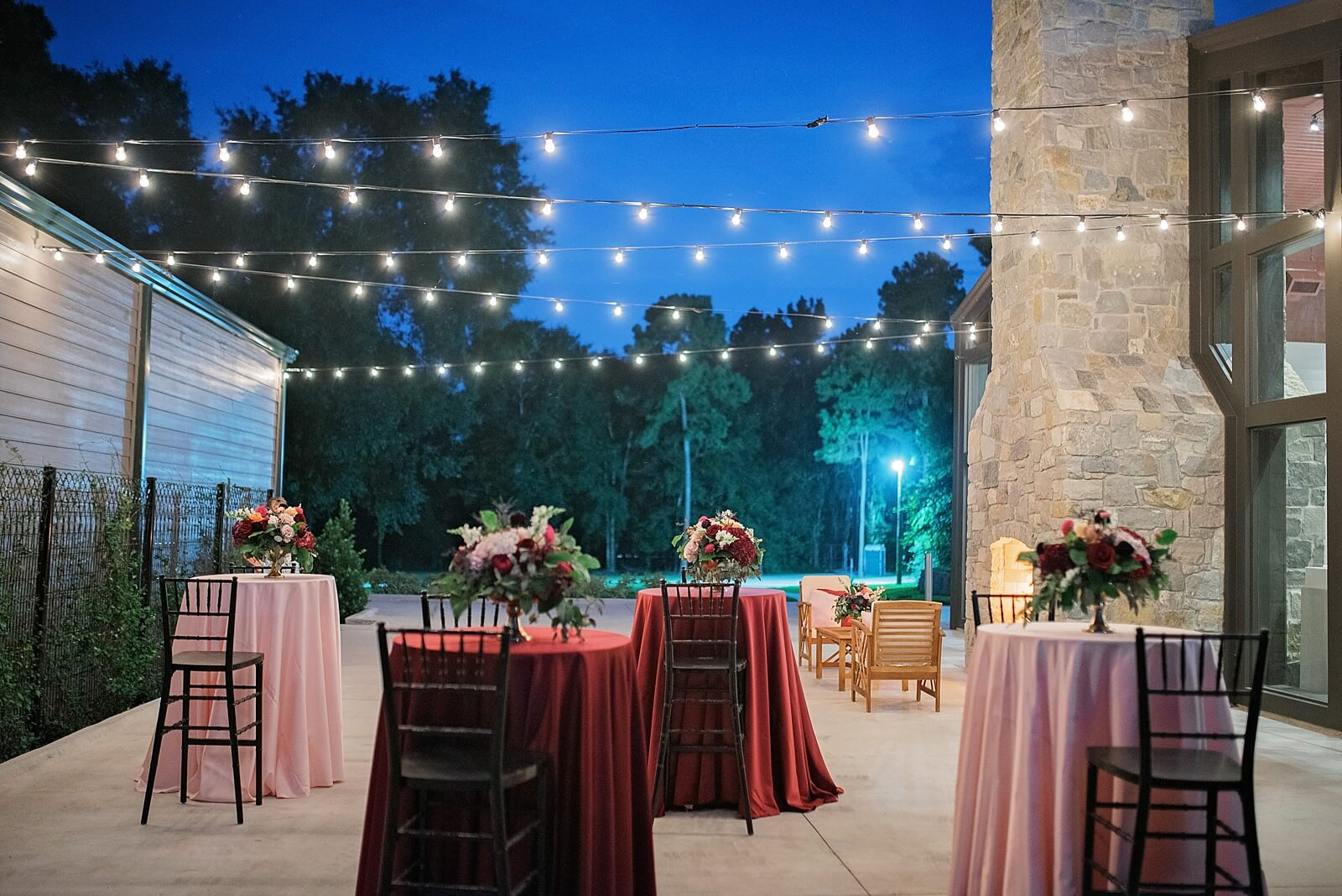 Nighttime cocktail hour setup at The Annex wedding venue