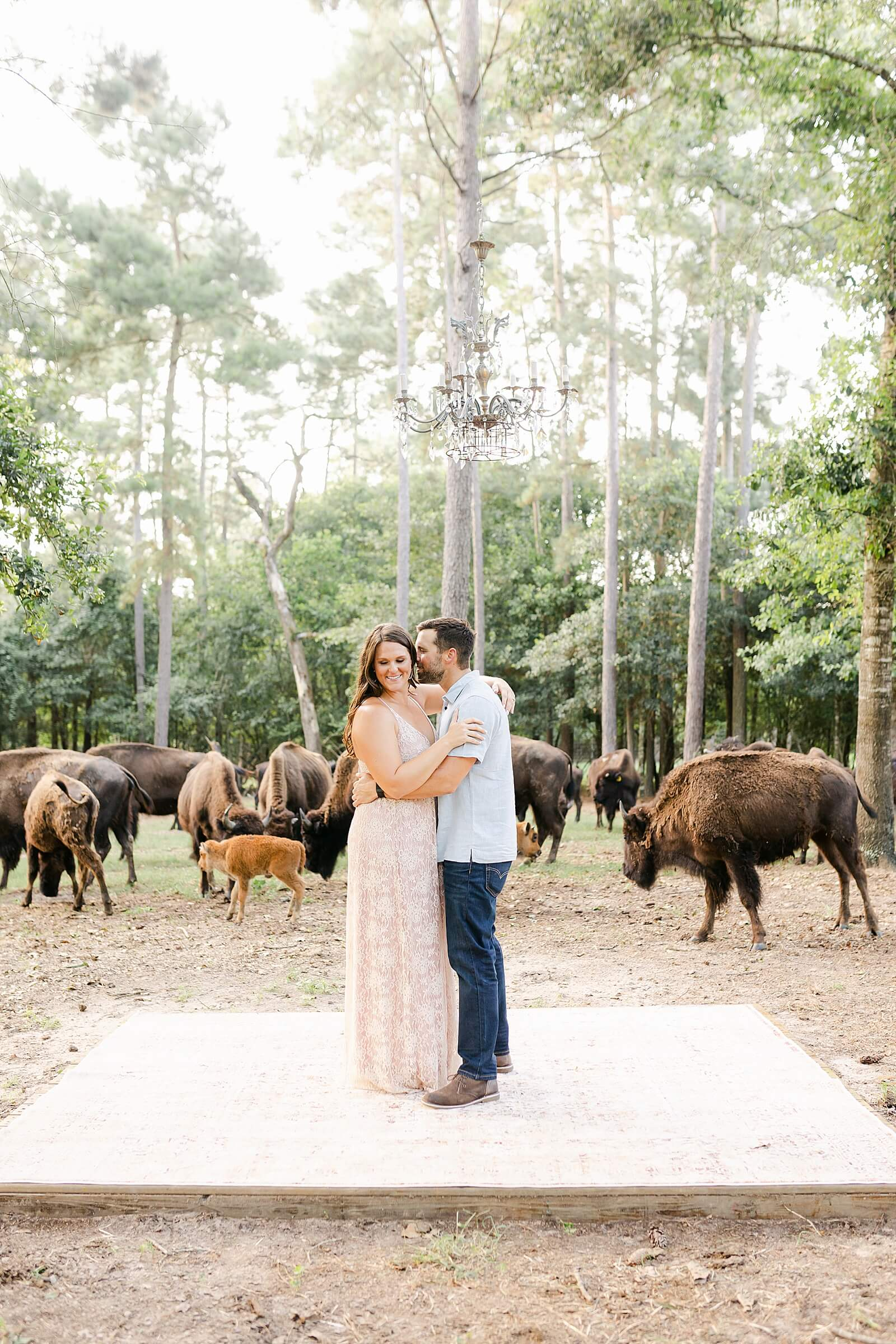 Couple stands under chandelier with buffalo walking behind at one of the unique wedding venues in Houston The Annex