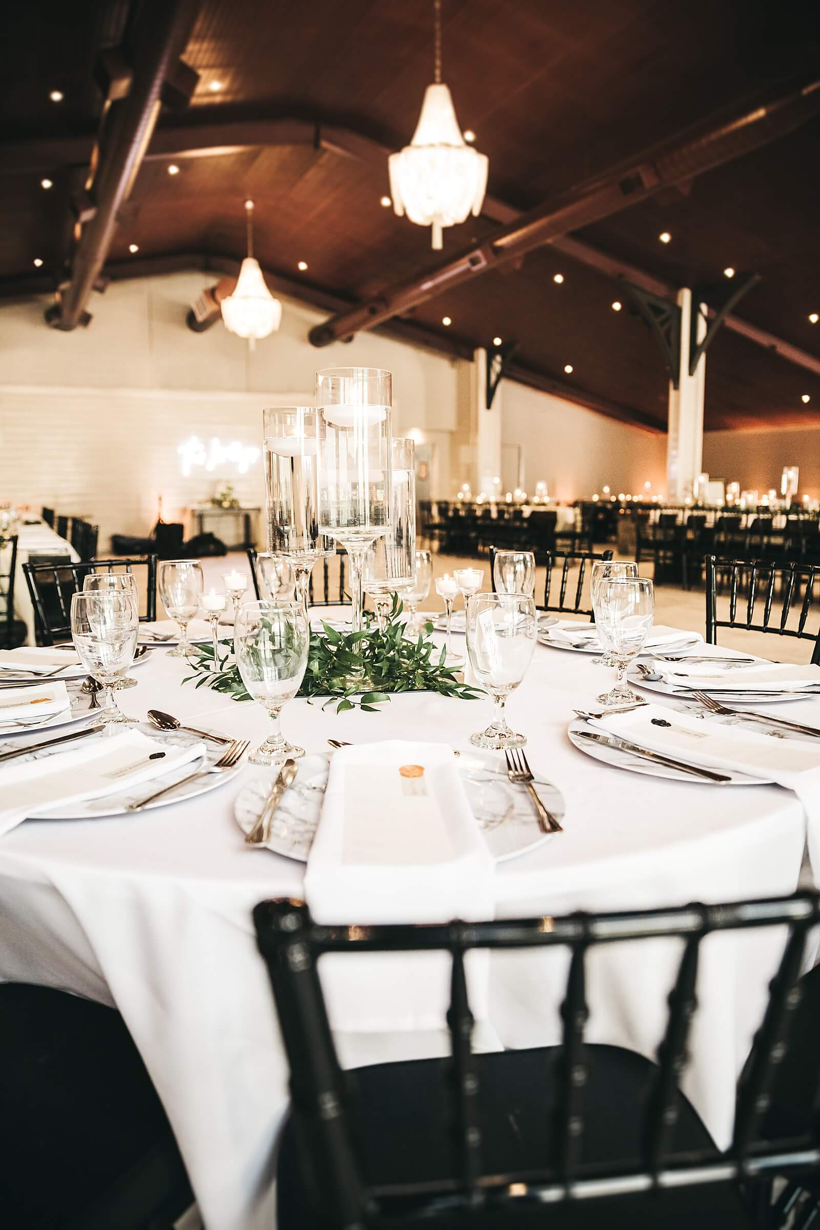 Elegant wedding table arrangements at one of the unique wedding venues in Houston The Annex