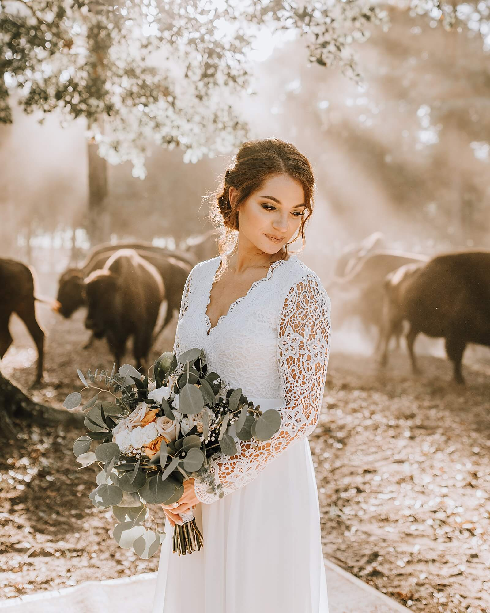 Sun shines down on bride standing in front of buffalo at The Annex wedding venue
